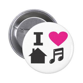 Jag älskar husmusik standard knapp rund 5.7 cm