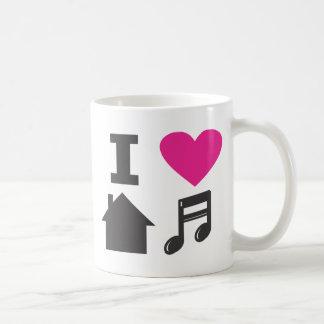 Jag älskar husmusik vit mugg