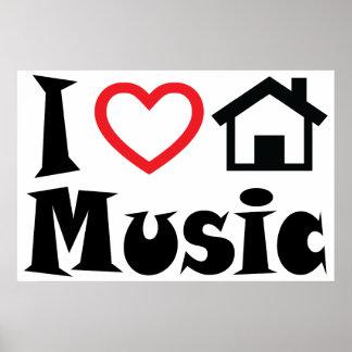 Jag älskar husmusikaffischen poster