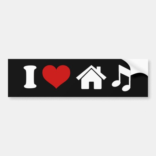 Jag älskar husmusikklistermärken bildekal