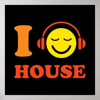 Jag älskar husmusiksmiley face med hörlurar posters