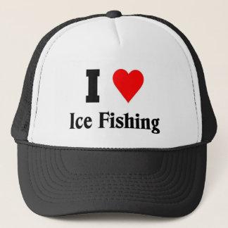 Jag älskar isfiske truckerkeps