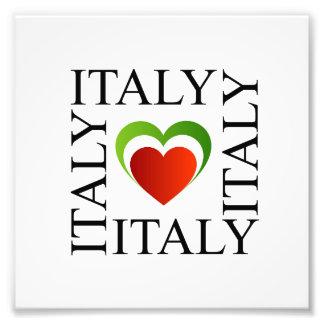 Jag älskar italien med italienska flaggafärger fototryck