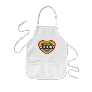 Jag älskar Jamie. Jag älskar dig Jamie. Hjärta Barnförkläde