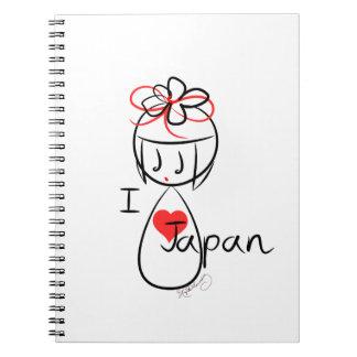 Jag älskar Japan Kokeshi dockakonst Anteckningsbok Med Spiral