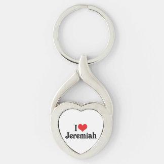 Jag älskar Jeremiah Twisted Heart Silverfärgad Nyckelring