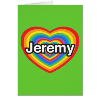 Jag älskar Jeremy. Jag älskar dig Jeremy. Hjärta Hälsningskort