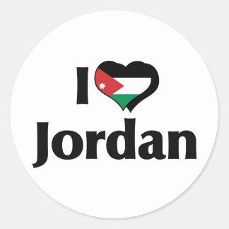 Jag älskar Jordanienflagga Runt Klistermärke