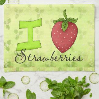 Jag älskar jordgubbekökshandduken kökshandduk