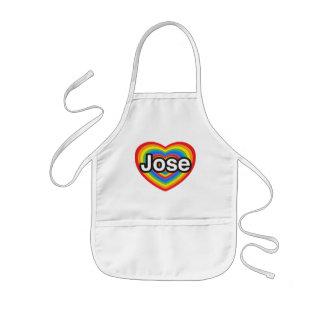 Jag älskar Jose. Jag älskar dig Jose. Hjärta Barnförkläde