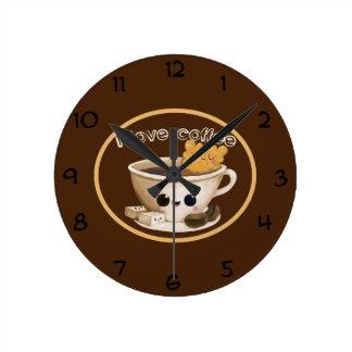 Jag älskar kaffe rund klocka