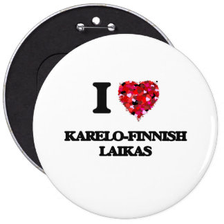 Jag älskar Karelo-Finskan Laikas Jumbo Knapp Rund 15.2 Cm