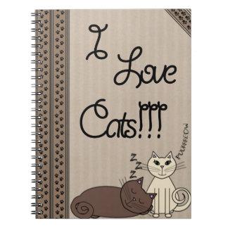 Jag älskar katter!!! anteckningsbok med spiral