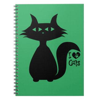 Jag älskar katter anteckningsbok med spiral