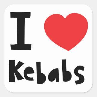 Jag älskar Kebabs Fyrkantigt Klistermärke
