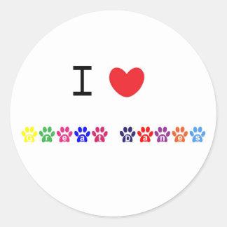 Jag älskar klistermärkear för hjärtagreat runt klistermärke