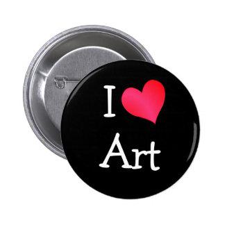 Jag älskar konst knappar med nål