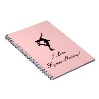 Jag älskar konståkningANTECKNINGSBOKEN, rosa Anteckningsbok Med Spiral