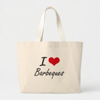 Jag älskar konstnärlig design för Barbeques Jumbo Tygkasse
