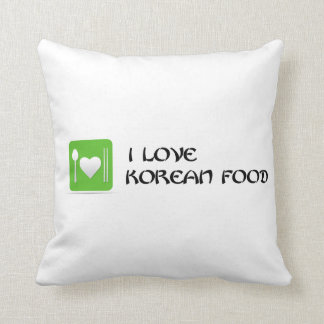 jag älskar koreansk mat - grönt prydnadskuddar