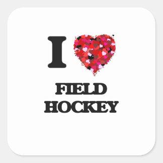 Jag älskar landhockey fyrkantigt klistermärke