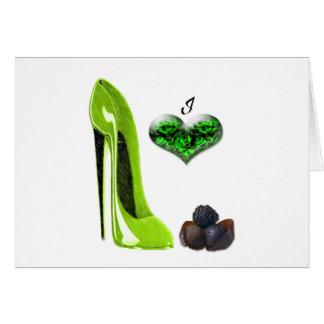 Jag älskar limefrukt som den gröna stiletten skor hälsningskort