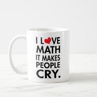 Jag älskar Math, det gör folk att gråta typografi Kaffemugg