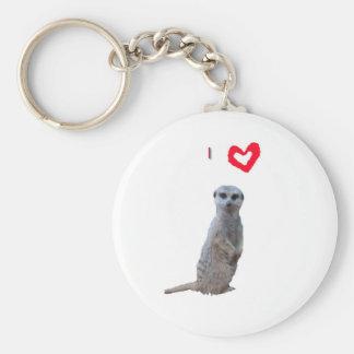 Jag älskar Meerkats Rund Nyckelring
