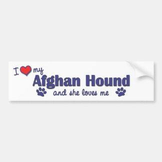 Jag älskar min afghanska hund (den kvinnliga hunde bildekal