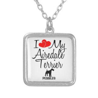 Jag älskar min AiredaleTerrierhund Silverpläterat Halsband
