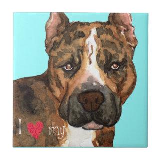Jag älskar min amerikanStaffordshire Terrier Kakelplatta