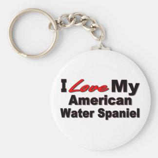 Jag älskar min amerikanvattenSpaniel Keychain Rund Nyckelring