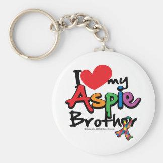 Jag älskar min Aspie broder Rund Nyckelring