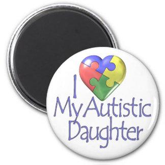 Jag älskar min Autistic dotter Magnet Rund 5.7 Cm