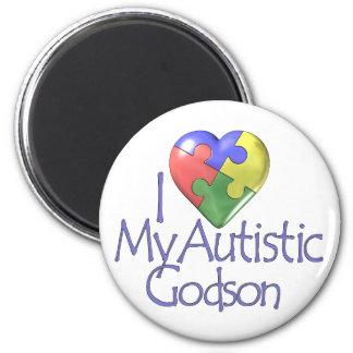 Jag älskar min Autistic Godson Magnet Rund 5.7 Cm