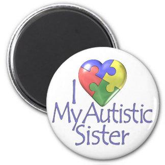 Jag älskar min Autistic syster Magnet Rund 5.7 Cm