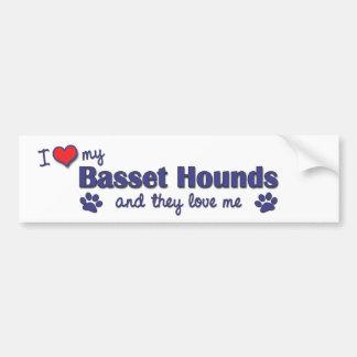 Jag älskar min Basset jagar (åtskilliga hundar) Bildekal
