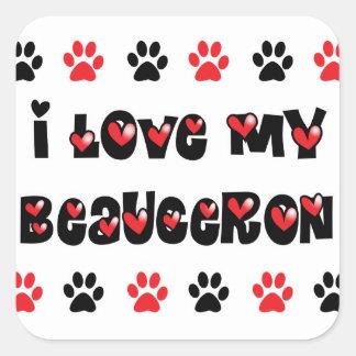 Jag älskar min Beauceron Fyrkantigt Klistermärke