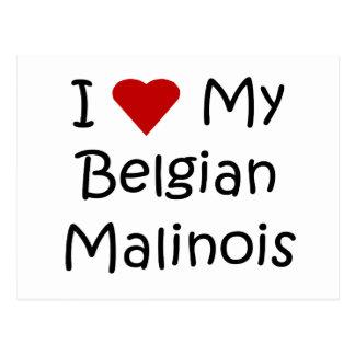 Jag älskar min belgiska Malinois hund älskaregåvor Vykort