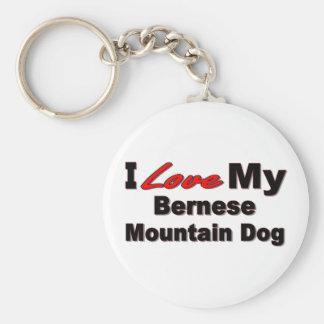 Jag älskar min Bernese berghund Keychain Rund Nyckelring