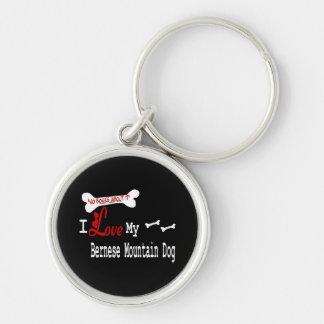 Jag älskar min Bernese berghund Rund Silverfärgad Nyckelring