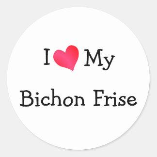 Jag älskar min Bichon Frise Runt Klistermärke