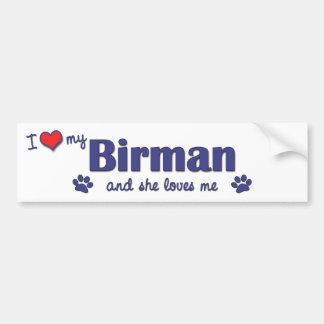 Jag älskar min Birman (den kvinnliga katten) Bildekal