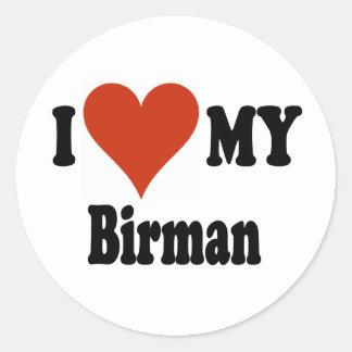 Jag älskar min Birman kattgåvor och dräkt Runt Klistermärke
