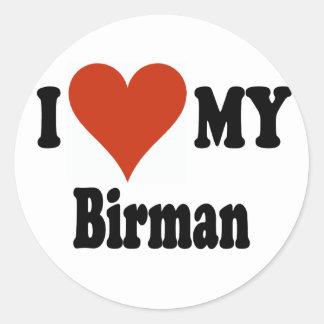 Jag älskar min Birman kattMerchandise Runt Klistermärke