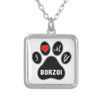 Jag älskar min Borzoi. Halsband Med Fyrkantigt Hängsmycke