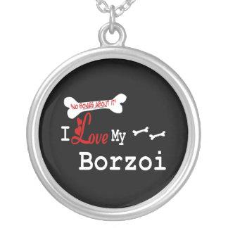 Jag älskar min Borzoi Halsband Med Rund Hängsmycke