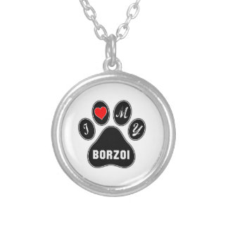 Jag älskar min Borzoi. Halsband Med Rund Hängsmycke