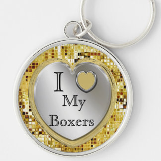 Jag älskar min boxare eller? Hjärtnyckelring Rund Silverfärgad Nyckelring
