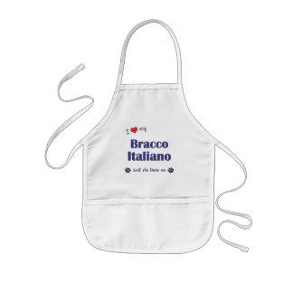 Jag älskar min Bracco Italiano (den kvinnliga hund Barnförkläde